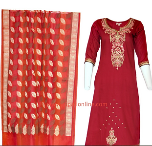 Red tunic set with gold embroidery