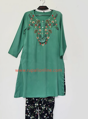 Green Embroidered Tunic Set