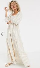 Shirred square neck maxi dress