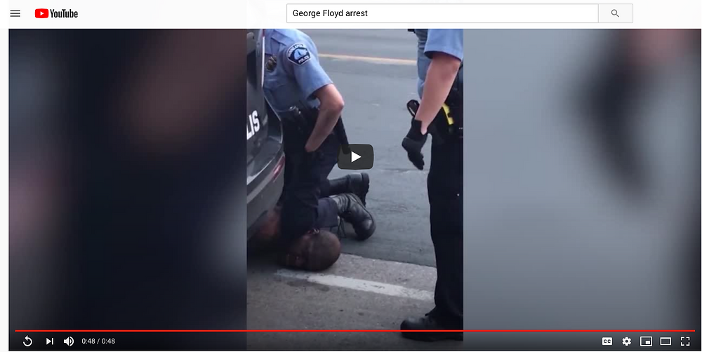 George Floyd brutally arrested by Minneapolis police. He later died and the police officer charged with murder.
