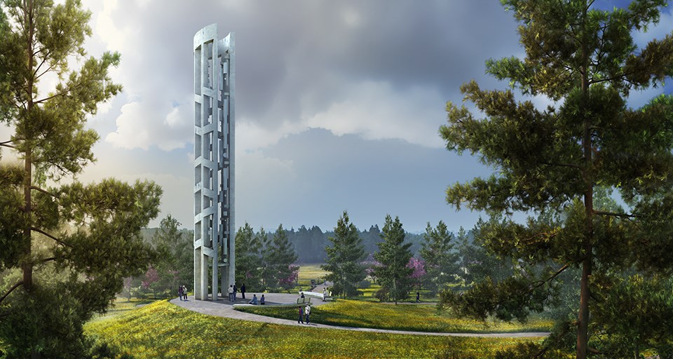 The Tower of Voices commemorates the 40 brave lives lost on Flight 93