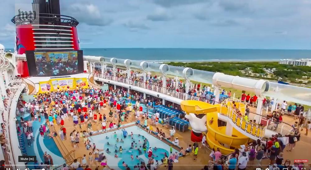 Pool deck aboard cruise ship