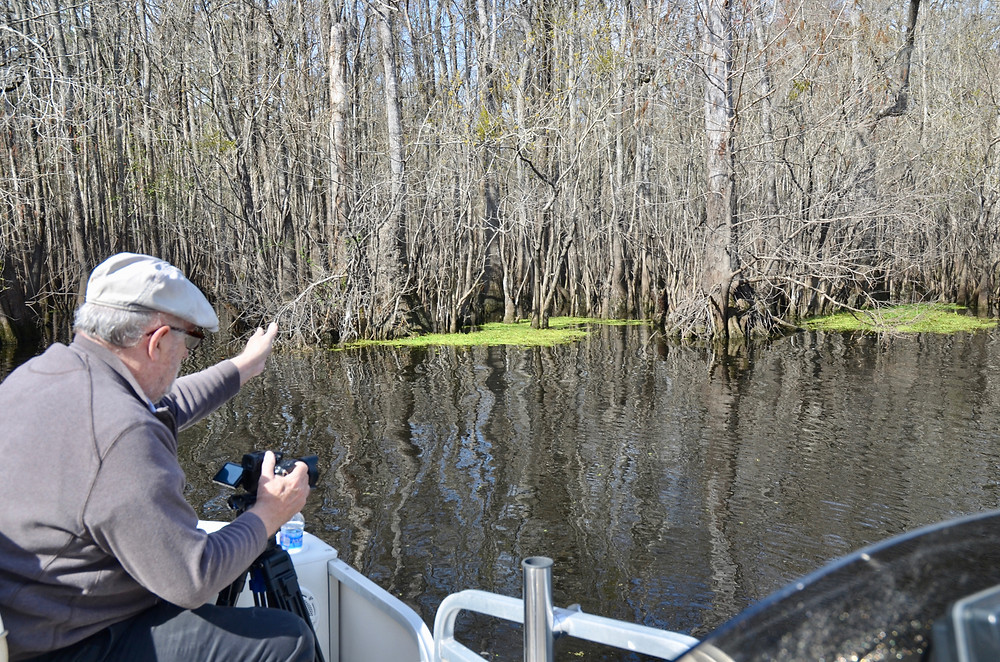 David Hinshaw shoots footage for the documentary on the Waccamaw River in South Carolina.