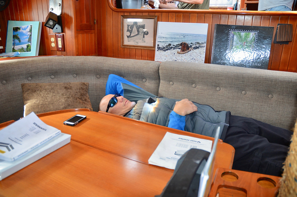 Brandon relaxes in the lounge amidship.