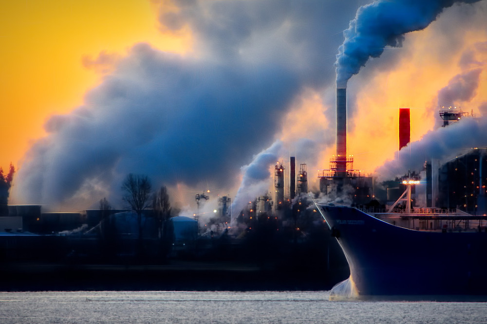 polluting factories contribute to global warming