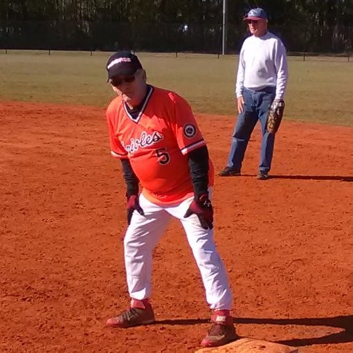 That's me on first base following a bloop single. Ended up going 3 for 5. The first baseman is Art.