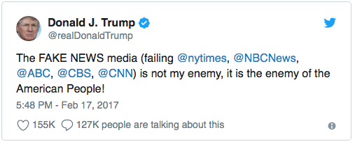 """Trump launches """"enemy of the people' attack against the media."""