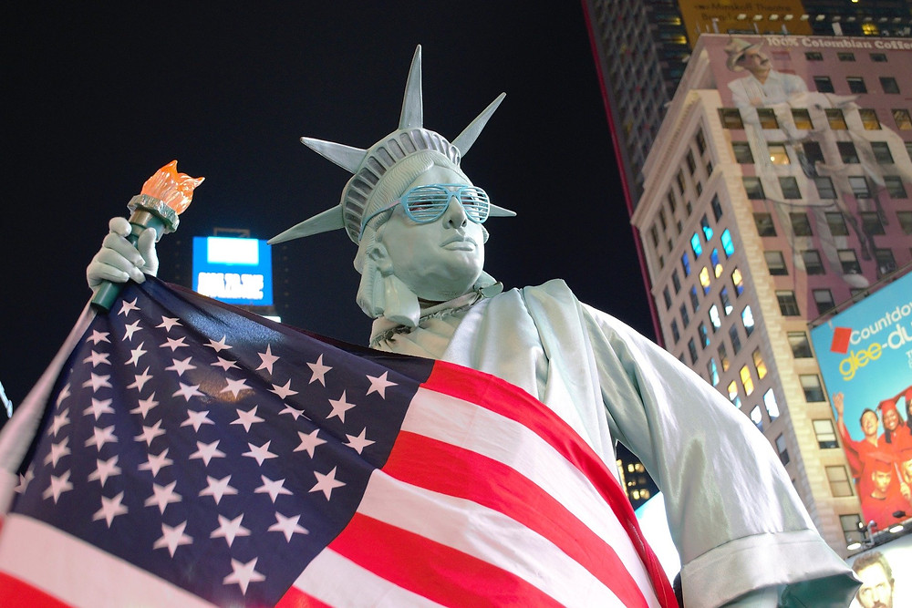 Flag wrapped Statue of Liberty