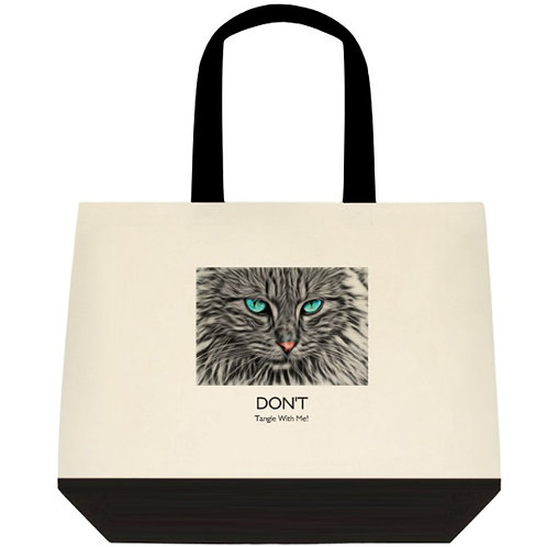 """""""Don't Tangle With Me!"""" Cotton ink printed tote bag"""