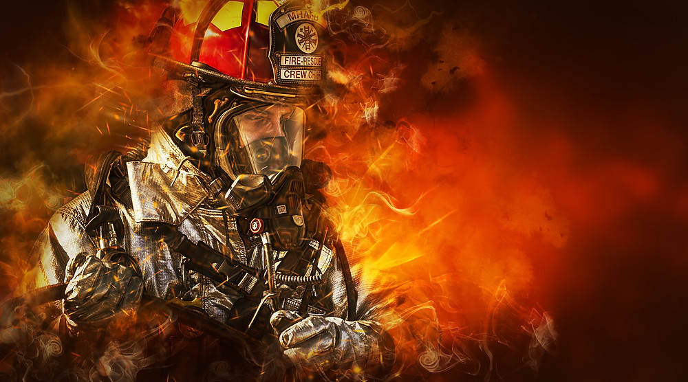A firefighter at work.