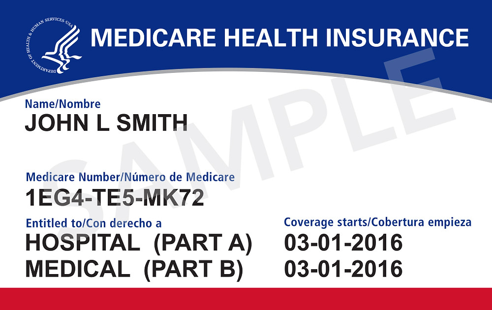 Sample of new Medicare card with unique number.