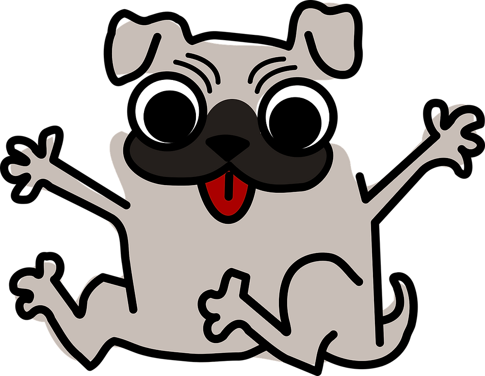Cartoon image of crazy dog