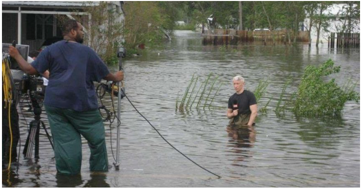 Anderson Cooper reporting on Hurricane Ike in Texas in 2008.