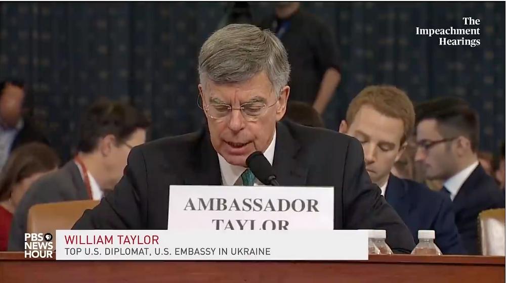 Taylor testifies at impeachment hearing Nov. 13