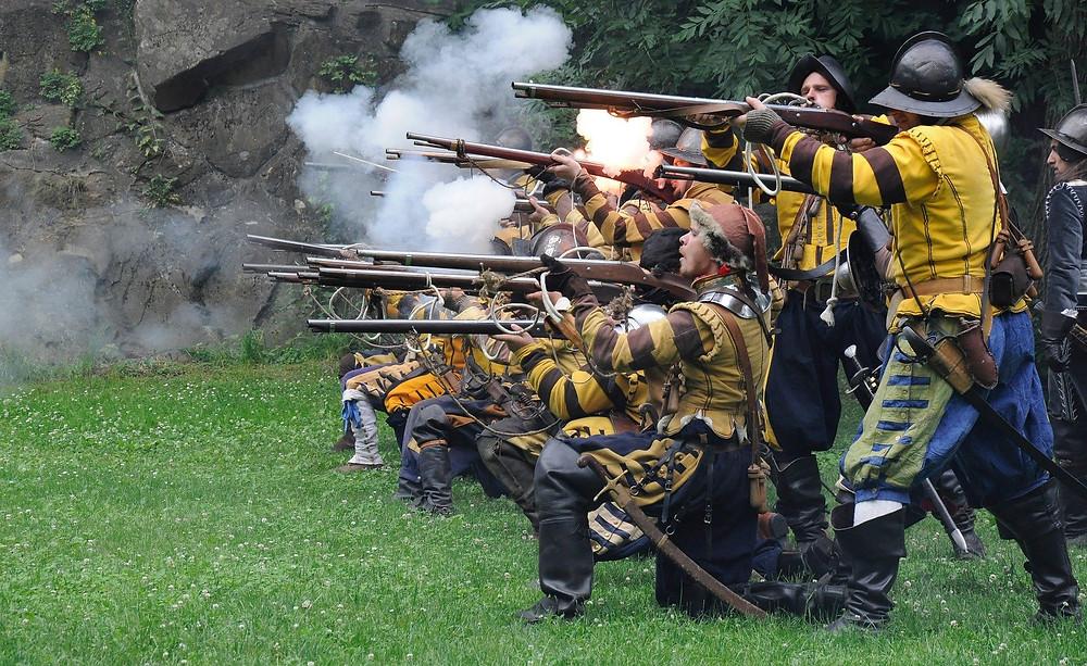 A historic battle reenactment