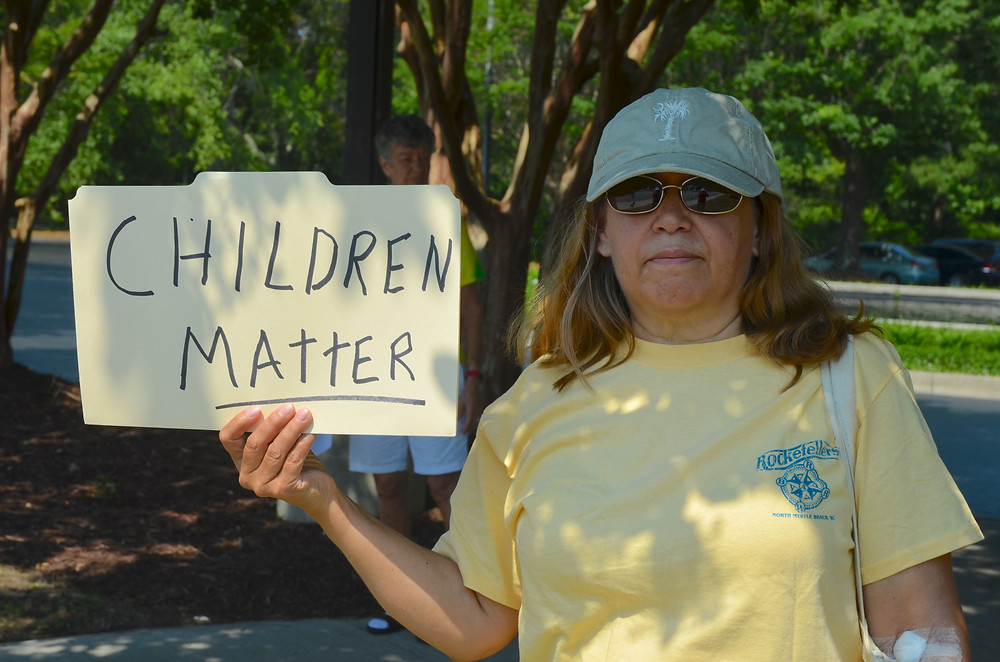 A demonstrator in Myrtle Beach, SC