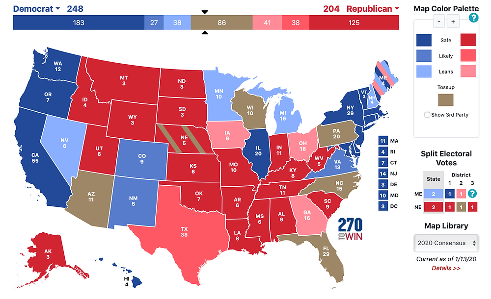Mock electoral college map
