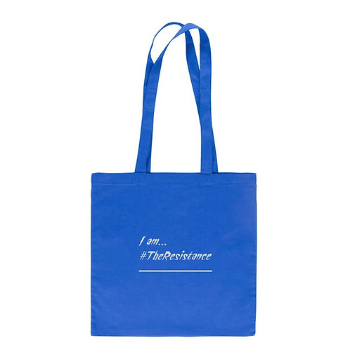 "#Resist Collection.Cotton ink printed tote bag - 15"" x 14.5"" royal blue"
