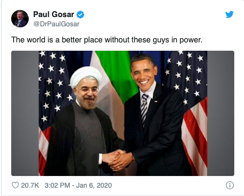 Rep. Gosar shares fake pic purportedly showing President Obama shaking hands with the Iranian President.