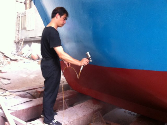 Fig. 1. G2F functional coating on the ship bow by spraying
