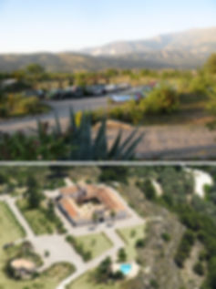 Carpark  and arial view at the Hacienda for sale in the Granada Province, Andalucia