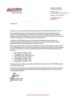 Reference by Griffith University VIce Pr