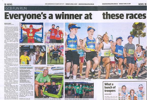 Hill Yang in Gold Coast Bulletin Fun Run at Griffith University half Marathon sub