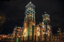 Puebla Cathedral at Night
