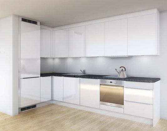 D4 | (F) Hvite, høyglans MDF-fronter - kjøkken med skuffer