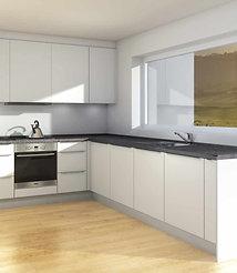 S2 | Hvite, matte MDF-fronter, kjøkken med hyller