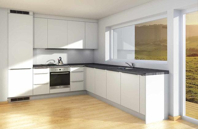 D1 | Hvite melaminfronter - kjøkken med skuffer