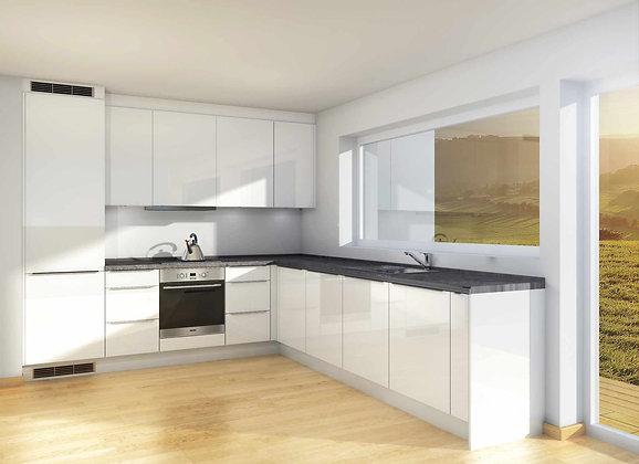 D4 | Hvite, høyglans MDF-fronter - kjøkken med skuffer