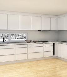 S1 | Hvite melaminfronter - kjøkken med hyller