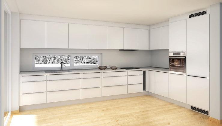 D2 | (E) Hvite, matte MDF-fronter, kjøkken med skuffer