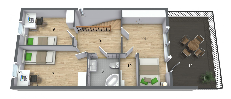 Andre etasje med tre soverom