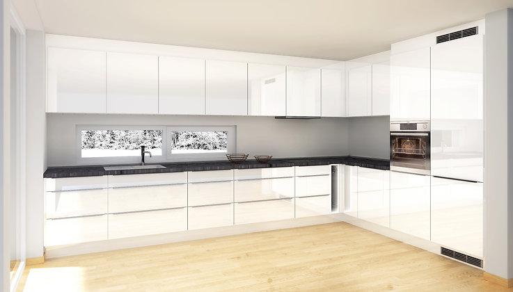 S4 | (E)Hvite, høyglans MDF-fronter - kjøkken med hyller