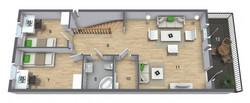 Andre etasje med to sov og stor stue