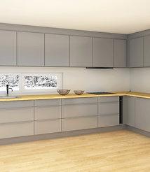 S3 | (E) Grå, matte MDF-fronter - kjøkken med hyller