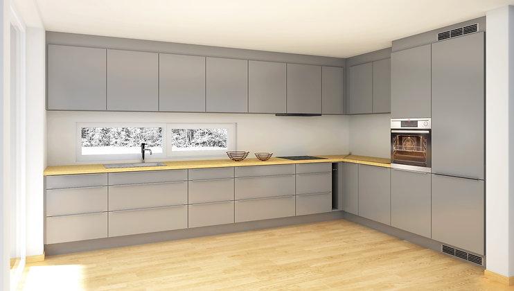 D3 | (E) Grå, matte MDF-fronter - kjøkken med skuffer