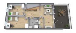 Andre etasje med to soverom og stue