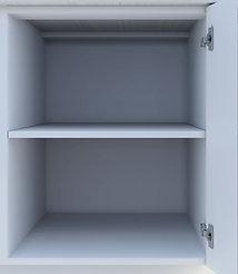Kjøkkeninnredning med hylle i skapet nær kjøleskapet