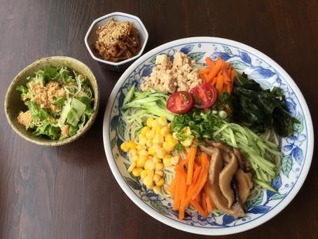 野菜どっさり冷やし中華 Cool yourself with our Cold Veg Noodles