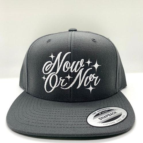 NowOrNvr - Charcoal Grey Script Snapback