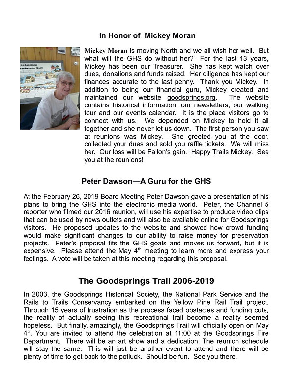 Goodsprings Newsletter #19 Sring 2019 (6
