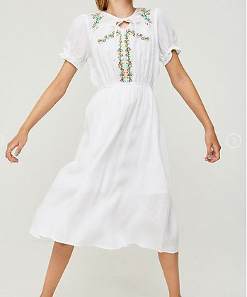 EMBROIDERED TIE FRONT MIDI DRESS