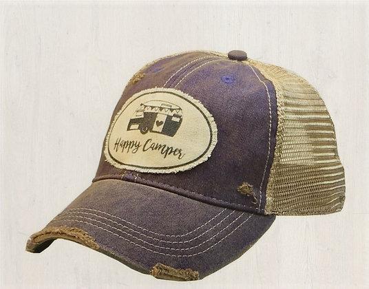 """Happy Camper"" Distressed Cap"
