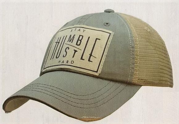 """Stay Humble Hustle Hard"" Distressed Cap"