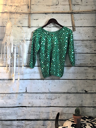 60's EMERALD SEQUIN KNIT TOP