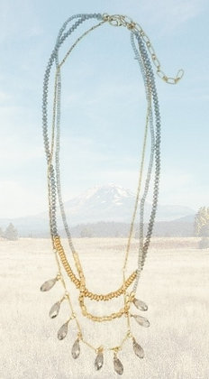 Crystal Drop Three Layer Necklace