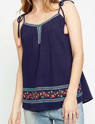 EMBROIDERED TOP TIE UP STRAPS